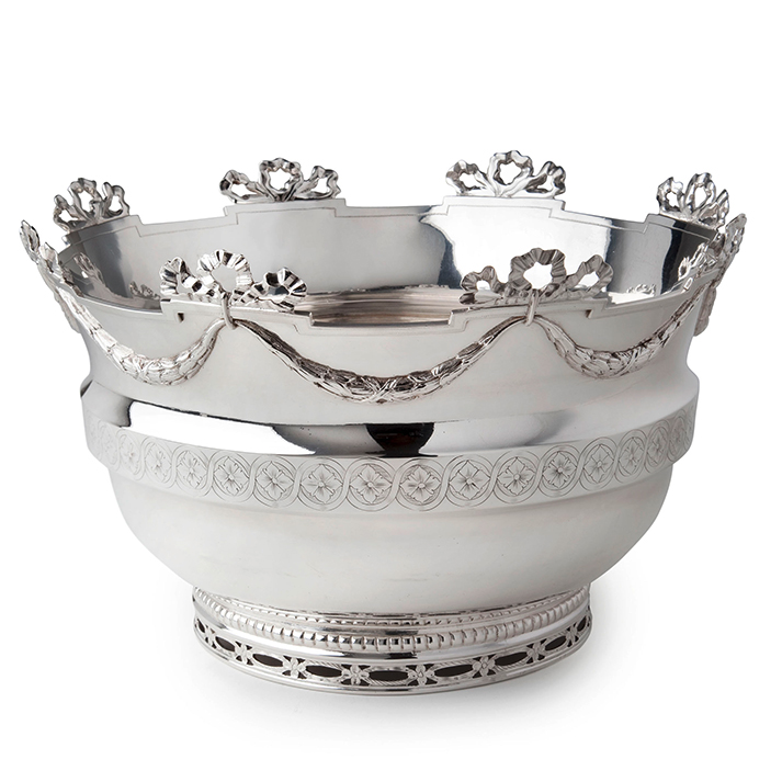 Dutch Silver Monteith bowl, Reynier de Haan, The Hague in 1778