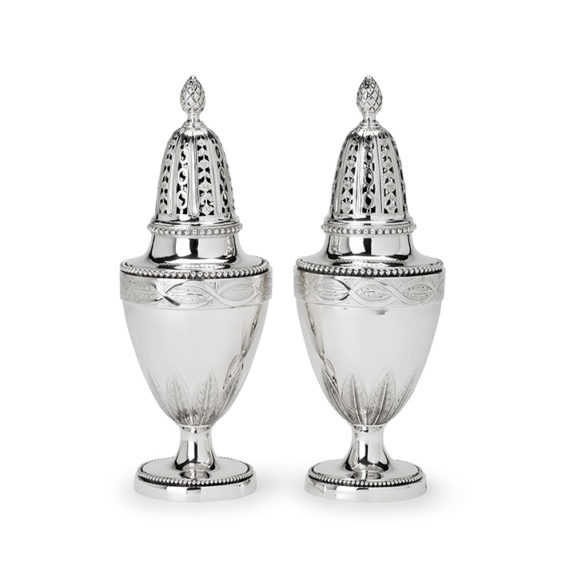 Pair of Dutch silver casters, Martinus van Stapele, The Hague, 1790