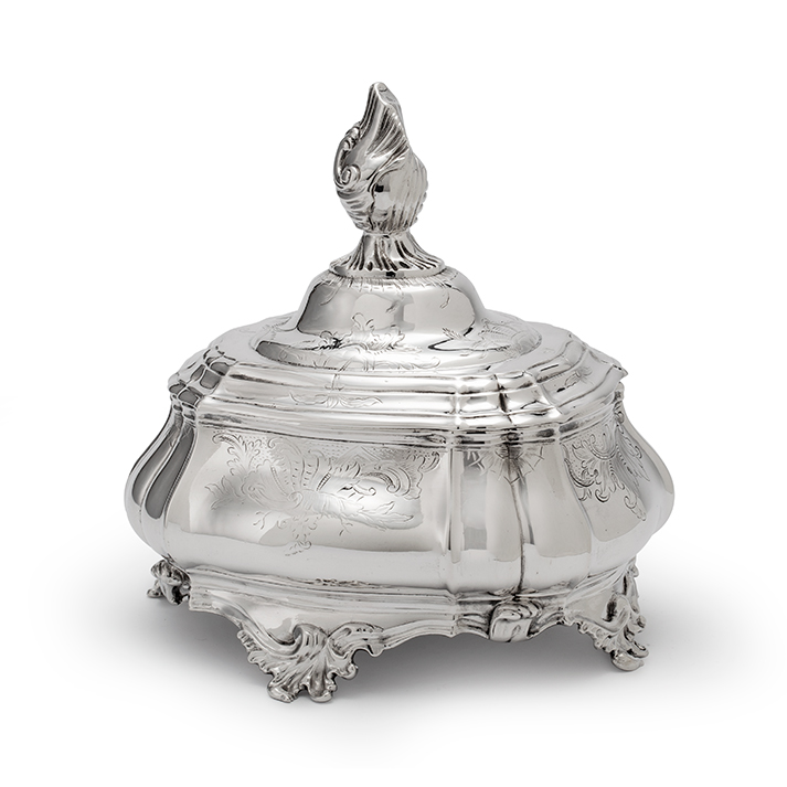 Dutch silver tobacco jar, Wijnand Warneke, Amsterdam, 1763